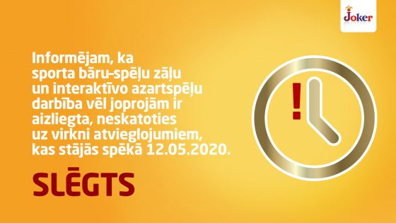 Attiecībā uz sporta bāru–spēļu zāļu darbību šobrīd NAV atcelts azartspēļu organizēšanas noteiktais aizliegums!